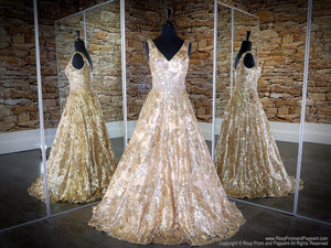Front of Gold/Champagne V Neckline Ball Gown Prom Dress at Rsvp Prom and Pageant, the largest Atlanta prom dress store also known as promheaven