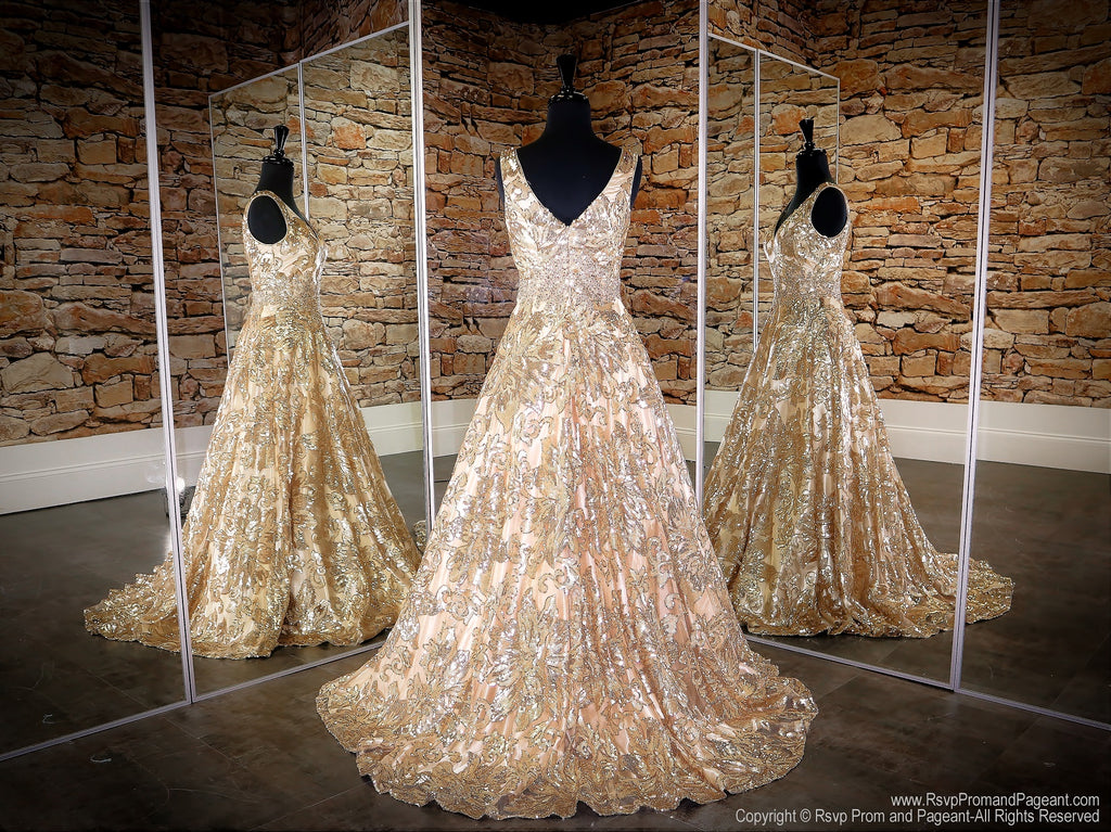 Back of Gold/Champagne V Neckline Ball Gown Prom Dress at Rsvp Prom and Pageant, the largest Atlanta prom dress store also known as promheaven
