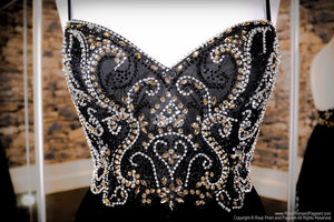 Bodice of Black/Gold Sweetheart Neckline Open Back Prom Dress at Rsvp Prom and Pageant, the largest Atlanta Prom Dress Store alson known as promheaven