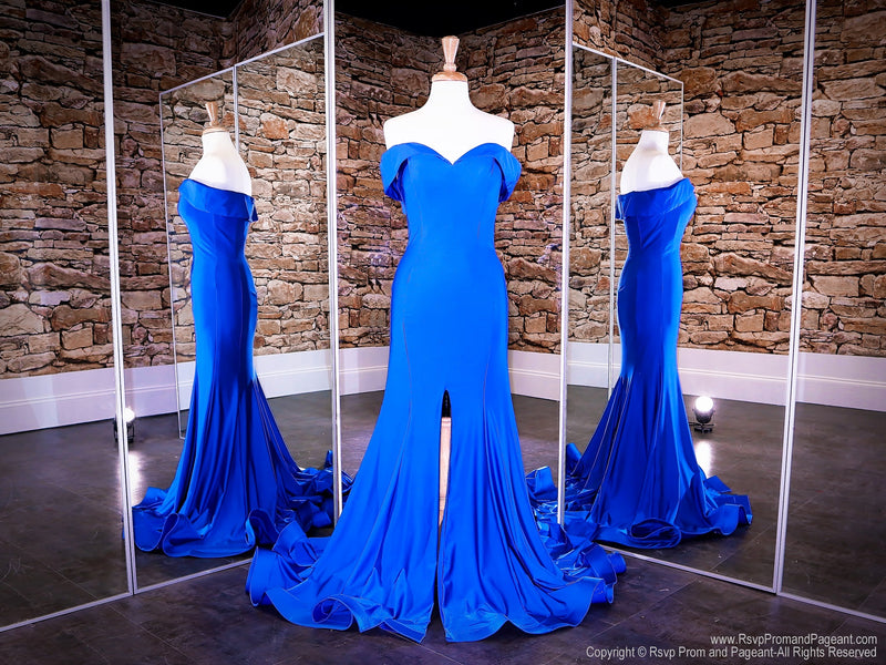Front of Royal Off The Shoulder With Slit Prom Dress at Rsvp Prom and Pageant, the largest Atlanta Prom Dress store also known as #Promheaven