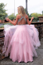 Back of Blush V Neckline Open Back Ball Gown Prom Dress at Rsvp Prom and Pageant, the largest Atlanta prom dress store also known as promheaven