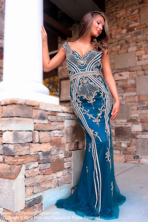 Front of Teal Off The Shoulder Open Back Prom Dress at Rsvp Prom and Pageant, the largest Atlanta Prom Dress Store also known as promheaven