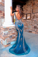 Back of Teal Off The Shoulder Open Back Prom Dress at Rsvp Prom and Pageant, the largest Atlanta Prom Dress Store also known as promheaven