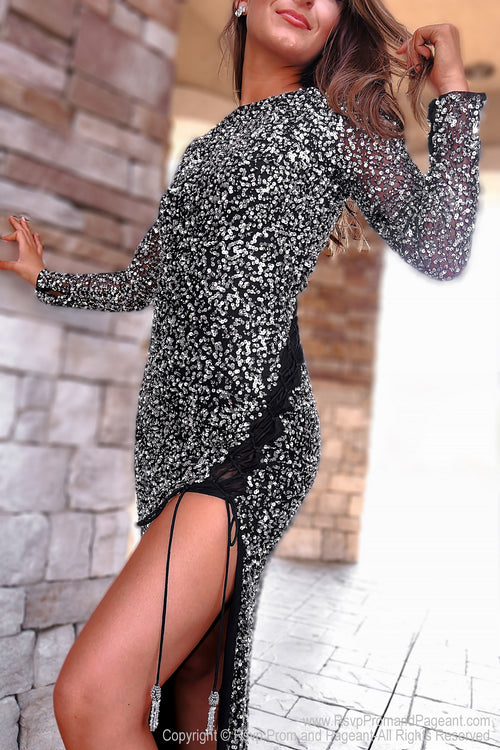 Side of Black/Silver Fully Beaded Prom Dress With Sleeves at Rsvp Prom and Pageant, the largest Atlanta prom dress store also known as Promheaven