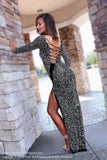 Black/Silver Fully Beaded Prom Dress With Sleeves at Rsvp Prom and Pageant, the largest Atlanta prom dress store also known as Promheaven