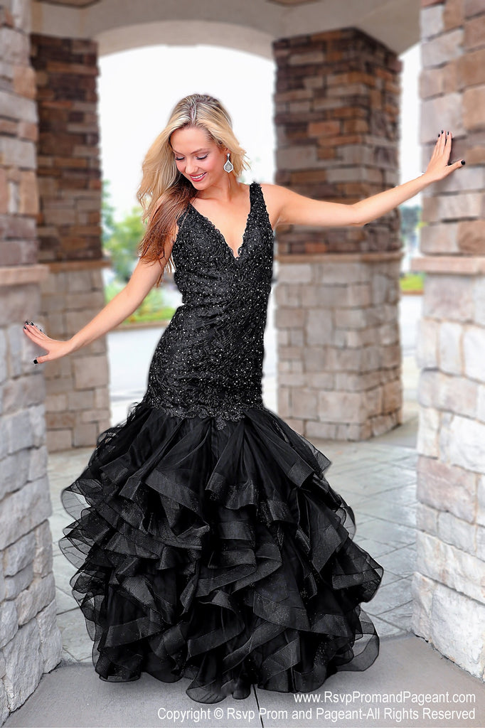 0baa7dfe00397 Black V Neckline Low Cut Back Mermaid Prom Dress – Rsvp Prom and Pageant