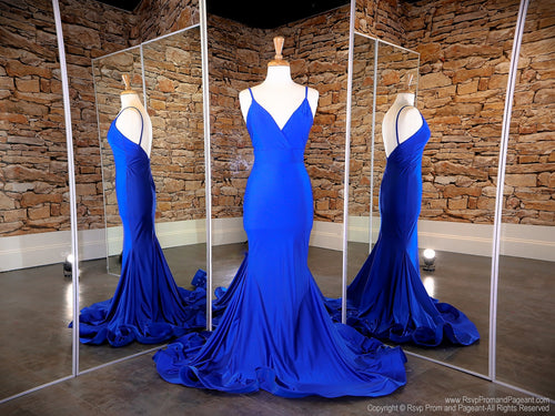 Front of Royal V-Neck Fit And Flare Prom Dress at Rsvp Prom and Pageant, the largest Atlanta prom dress store also known as Promheaven