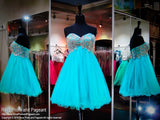 Seafoam Beaded Sweetheart Tulle Homecoming Dress (SALE) - Rsvp MM - Short Dress - Rsvp Prom and Pageant Atlanta, Georgia GA - 1