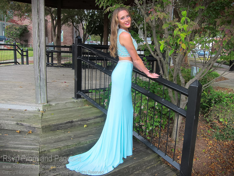 Seafoam High Neckline Two Piece Prom Dress 118CLAR034380 / Rsvp Prom and Pageant / Best Prom Store in Atlanta / #Promheaven