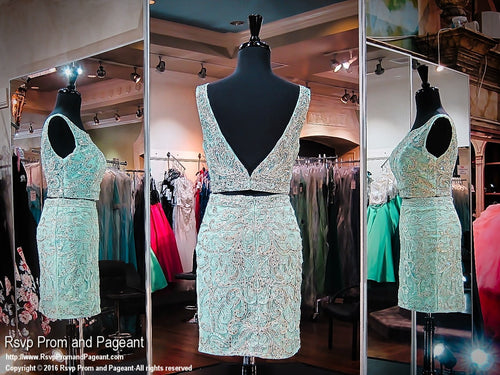 Seafoam Two-Piece Low Back Short Homecoming Dress / Rsvp Prom and Pageant, Atlanta, GA / Best Prom Store in Atlanta / #Promheaven