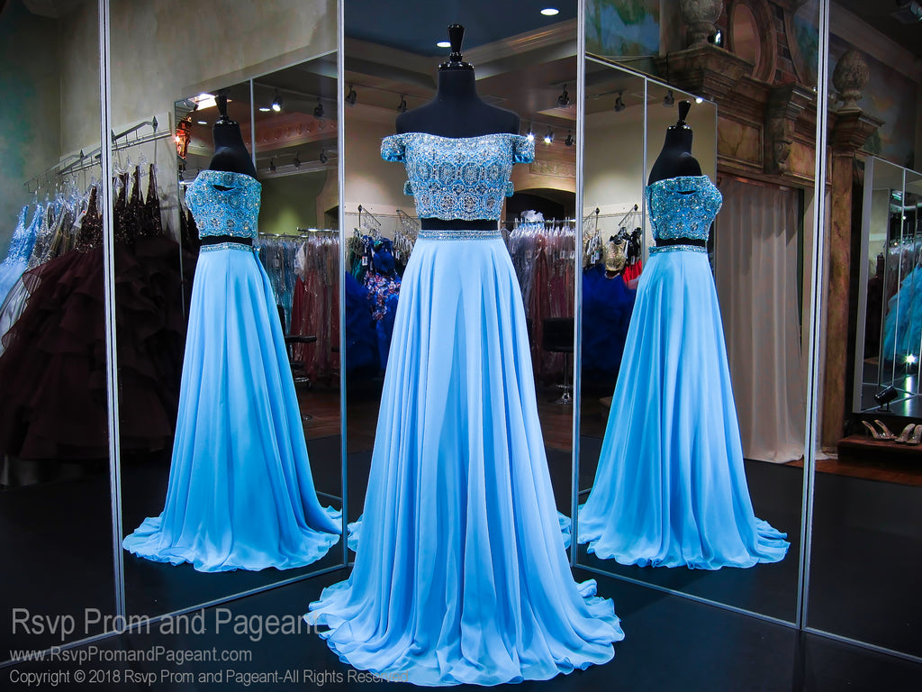 Sky Blue Off The Shoulder Chiffon Two Piece Prom Dress / Rsvp Prom ...