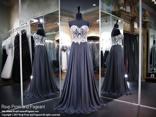 Smoke Silver Strapless Sweetheart Prom Dress - Rsvp CLAR - Long Gown - Rsvp Prom and Pageant Atlanta, Georgia GA - 1