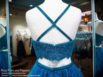 Teal Lace High Neckline Two Piece Homecoming Dress / Rsvp Prom and Pageant / Atlanta Prom Store / Best Homecoming Dresses / Promheaven
