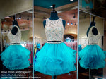 Two Piece Teal/Gold Lace High Neckline Homecoming Dress 117EW021580 / Rsvp Prom and Pageant / Best Prom Store / #Promheaven