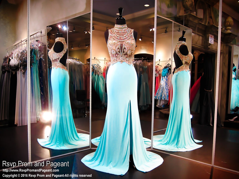 Turquoise High Neckline Fitted Prom Dress / Rsvp Prom and Pageant, Atlanta, GA / Best Prom Store in Atlanta / #Promheaven