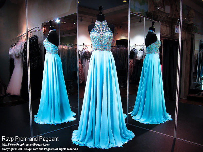 Turquoise Halter Open Back Prom Dress - Rsvp EC - Long Gown - Rsvp Prom and Pageant Atlanta, Georgia GA - 1