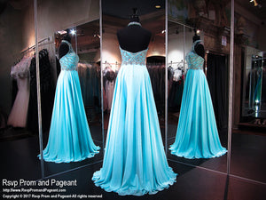 Turquoise Halter Open Back Prom Dress - Rsvp EC - Long Gown - Rsvp Prom and Pageant Atlanta, Georgia GA - 3