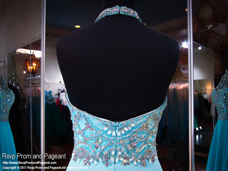 Turquoise Halter Open Back Prom Dress - Rsvp EC - Long Gown - Rsvp Prom and Pageant Atlanta, Georgia GA - 4