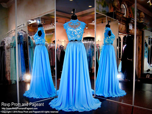 Two-Piece Turquoise/Nude Prom Dress - Rsvp EC - Long Gown - Rsvp Prom and Pageant Atlanta, Georgia GA - 1