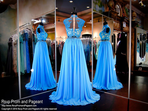 Two-Piece Turquoise/Nude Prom Dress - Rsvp EC - Long Gown - Rsvp Prom and Pageant Atlanta, Georgia GA - 2