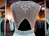 Turquoise-Open back-Chiffon Prom Dress / Rsvp Prom and Pageant, Atlanta, GA / Best Prom Store in Atlanta / #Promheaven