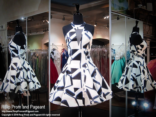 White Print High Neckline Short Dress / Rsvp Prom and Pageant, Atlanta, GA / Best Prom Store in Atlanta / #Promheaven