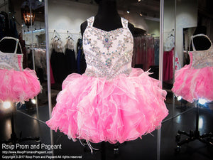 White/Pink Beaded Strap Ruffled Skirt with Corset Back / Rsvp Prom and Pageant / Best Prom and Pageant Store in the USA