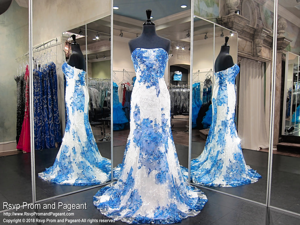 White/Royal Floral Strapless Lace Mermaid Prom Dress / Rsvp Prom ...