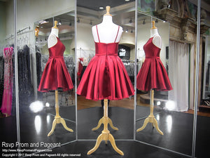 Wine Short Satin Skirt Pockets Homecoming Dress 117DJ045180 / Rsvp Prom and Pageant / Best Prom Store / #PromHeaven