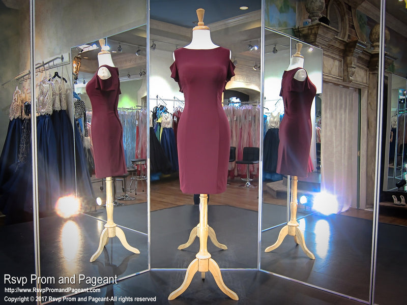 Wine Open Shoulder High Neckline Short Homecoming Dress 117DJ057490 / Rsvp Prom and Pagant / Best Prom Store