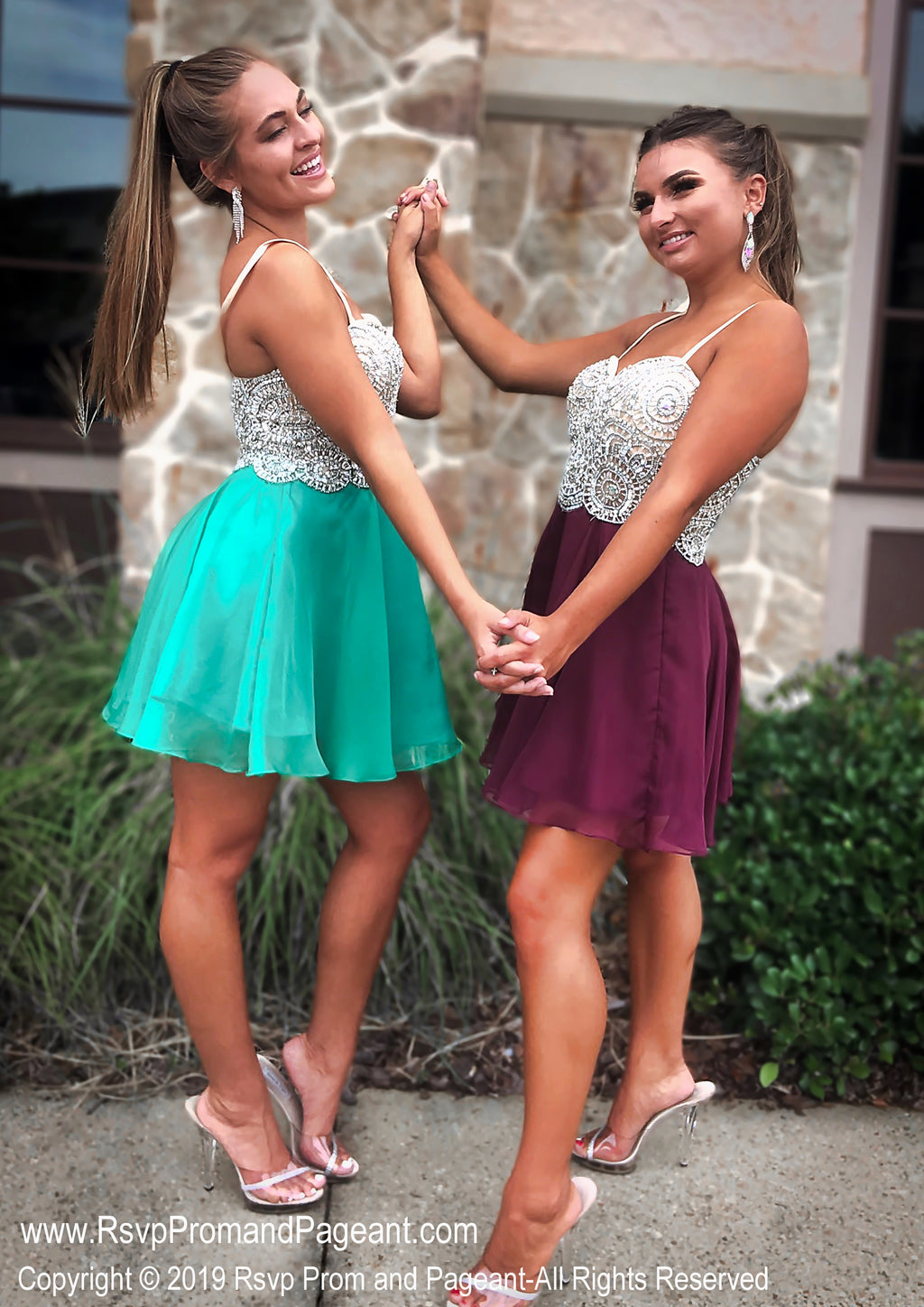 Burgundy or Green Suoer Cute Beaded Short Dress / Rsvp Prom and Pageant / Atlanta Prom Store / Best Homecoming Dresses / Promheaven