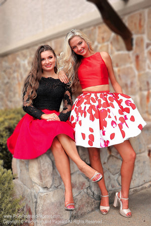 Black/Red Long Sleeved Two Piece / Rsvp Prom and Pageant / Atlanta Prom Store / Best Homecoming Dresses / Promheaven