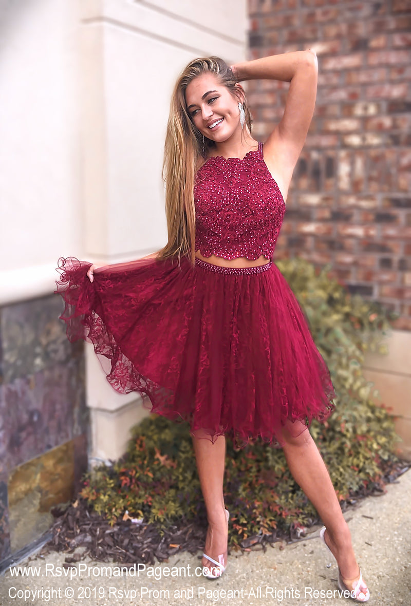Sangria Lace High Neckline Two Piece Homecoming Dress / Rsvp Prom and Pageant / Best Prom Store