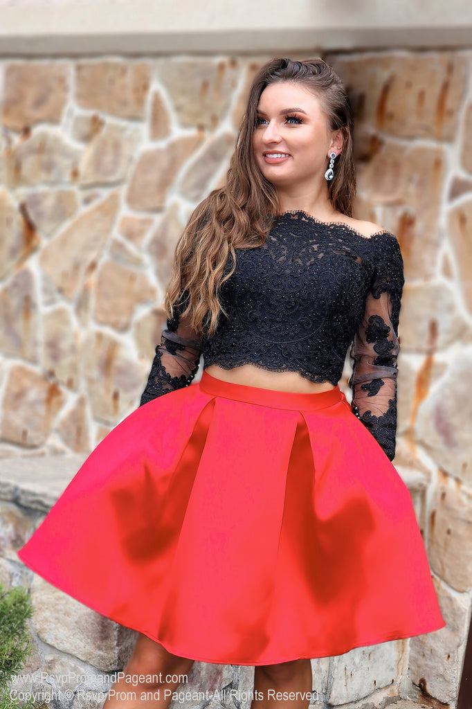 538cd838353 Black/Red Long Sleeved Two Piece / Rsvp Prom and Pageant