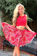 Red Print Two Piece Short Dress / Rsvp Prom and Pageant / Largest Atlanta Prom Store / Best Homecoming Dresses / #Promheaven