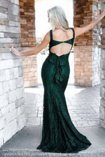 Emerald Lace Open Back Evening Gown at Rsvp Prom and Pageant, the largest Atlanta Prom Dress Store and also known as #Promheaven