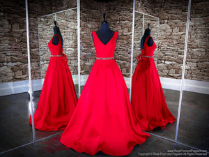 Front of Apple Red V Neckline Ball Gown Prom Dress at Rsvp Prom and Pageant, the largest Atlanta Prom Dress Store also known as promheaven