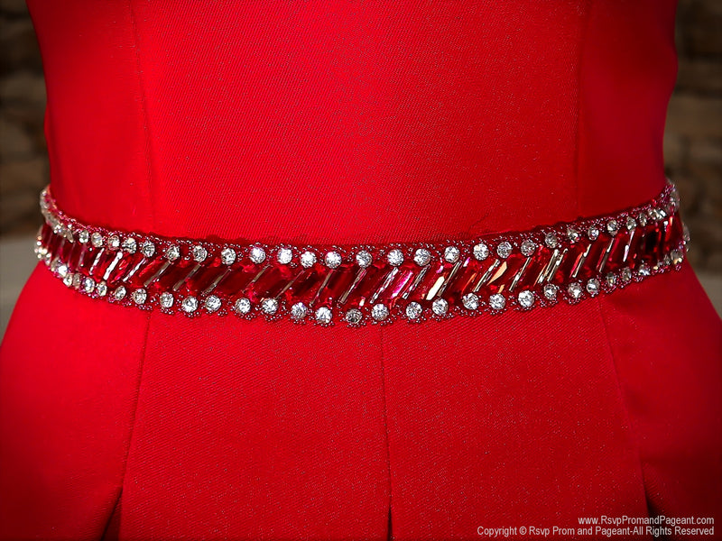 Beaded Belt of Apple Red V Neckline Ball Gown Prom Dress at Rsvp Prom and Pageant, the largest Atlanta Prom Dress Store also known as promheaven