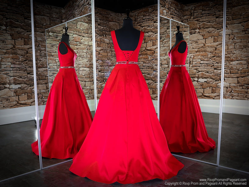 Back of Apple Red V Neckline Ball Gown Prom Dress at Rsvp Prom and Pageant, the largest Atlanta Prom Dress Store also known as promheaven
