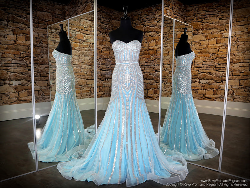 Front of Baby Blue/Silver Strapless Sweetheart Neckline Mermaid Prom Dress at Rsvp Prom and Pageant, the largest Atlanta prom dress store also known as promheaven