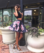 Beautiful Black/Navy Floral Velvet Top Two Piece Homecoming Dress at Rsvp Prom and Pageant, best prom dress store, Atlanta, GA