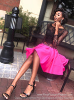 Black model in Fun Two Piece Short Homecoming Dress with Black Lace Top with Sleeves at Rsvp Prom and Pageant, best prom dress store located in metro Atlanta, Georgia