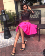 Black model siitting in Fun Two Piece Short Homecoming Dress with Black Lace Top with Sleeves at Rsvp Prom and Pageant, best prom dress store located in metro Atlanta, Georgia