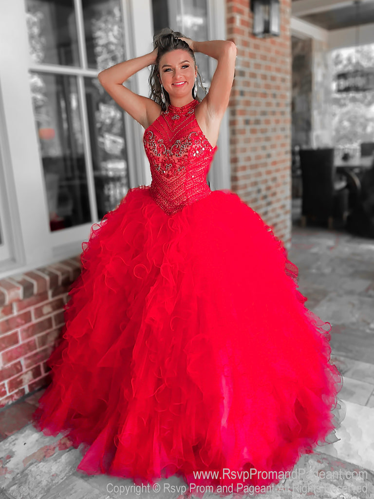 Red Pageant Opening Number Dress