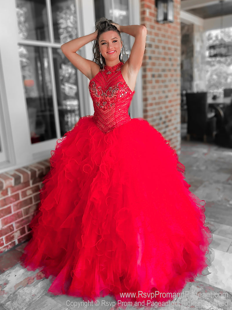 Red Beaded High Neck Quinceanera Ball Gown at Rsvp Prom and Pageant, the largest Atlanta prom dress store also known as #promheaven