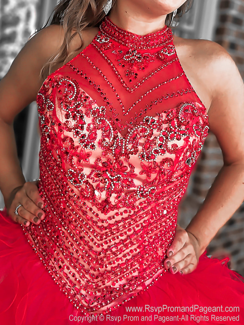 Front of Red Beaded High Neck Quinceanera Ball Gown at Rsvp Prom and Pageant, the largest Atlanta prom dress store also known as #promheaven