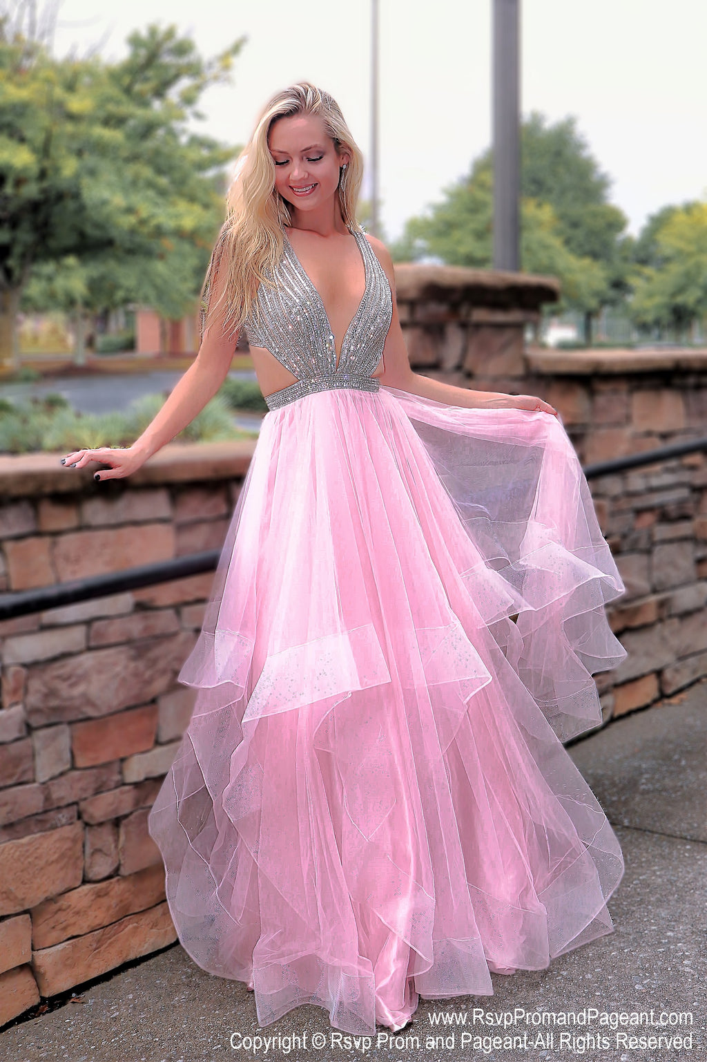 Blush V Neckline Open Back Ball Gown Prom Dress at Rsvp Prom and Pageant, the largest Atlanta prom dress store also known as promheaven