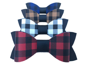 Buffalo Plaid Faux Leather Bow Tie