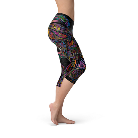 Womens Sugar Skull Capri Leggings