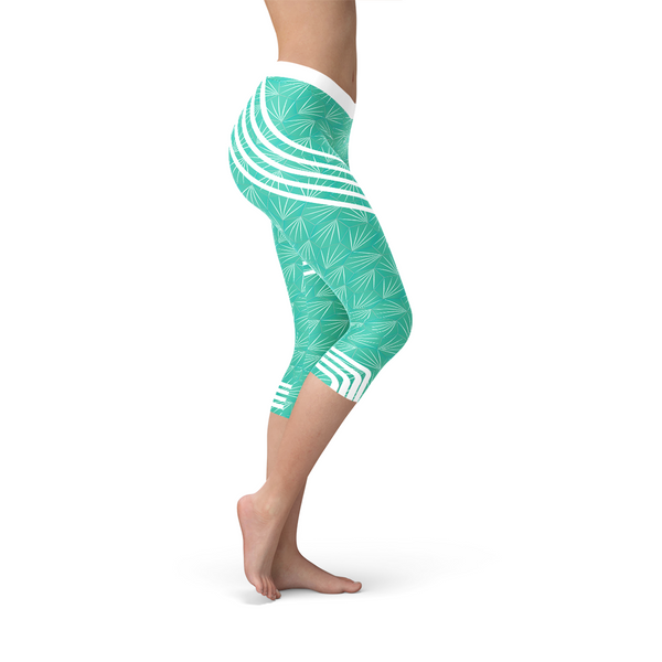 Turquoise Sports Capri Leggings